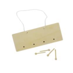 Set of 10wood plaque hangers w/4 hooks 21x8x4cm