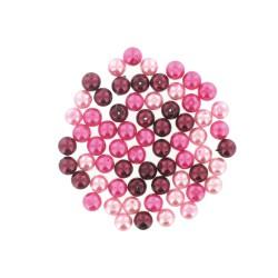 Assort. Pearl glass beads 8mm Pink (65 pcs)