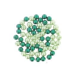 Assort. Pearl glass beads 8mm Green (65 pcs)