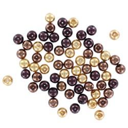 Assort. Pearl glass beads Gold brown (65 pcs)