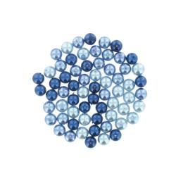 Assort. Pearl Glass beads 8mm Blue (65 pcs)