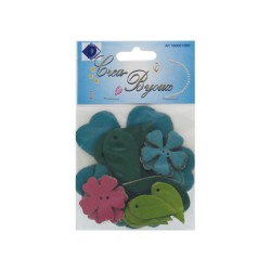 Leather flower set - Pink/Blue (15 pcs)