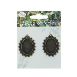 Antique oval frame (25x18mm cameo) - Bronze (2 pcs)