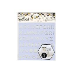 8 x 8'' Adhesive Stencil (1pc) - Alphabet - Capsule - Geometric Mono