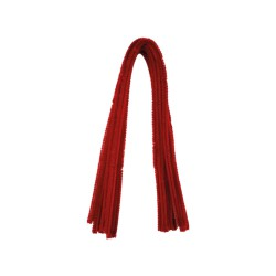 Chenille 8mm x 500mm without header card - Red (10 pcs)