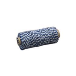 Katoenkoord 50gr blauw/wit