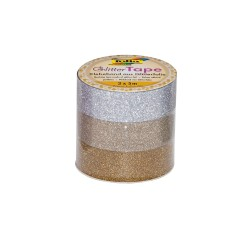 Glittertape 5m P/3 silver/lightgold/gold