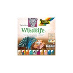 Vouwblad 15cmx15cm P/50 wildlife