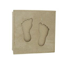 Paper Shape Box Square 15 cm with Footprints