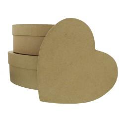 Set 3 heart boxes 260x250x120mm