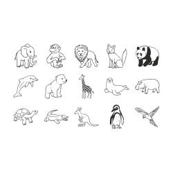 Stamp Set Zoo Animals 15pces