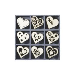 WoodOrnament Box - Hearts (45 pcs)