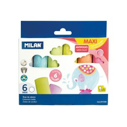 Box 6 anti-dust round coloured chalks MAXI (6 pcs)