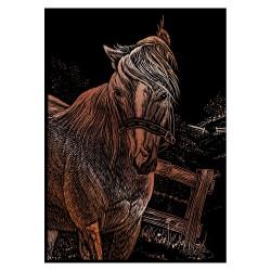 Mini scratch card 12,5x17,5cm copper horse