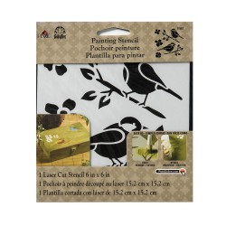 Stencil small 15,24cm x 15,24cm - Birds