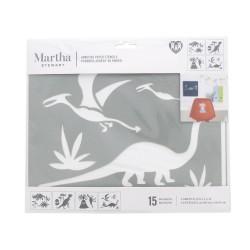 Adhesive paper stencil 23cm x 19cm - Dinosaurs