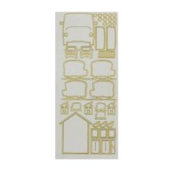 Sticker gold/transp - House