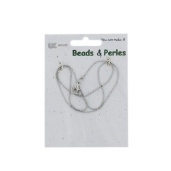 Neck chain tiny balls 42cm Rhodium