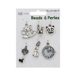 6 Charms silver - Alice in wonderland