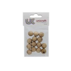 Ball beech wood natural 15mm - borehole 4mm (14 pcs)
