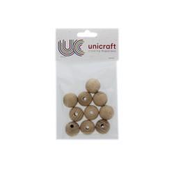 Ball beech wood natural 25mm - borehole 6mm (10 pcs)
