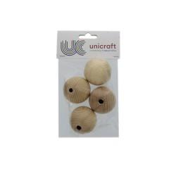 Ball beech wood natural 50mm - borehole 8mm (4 pcs)