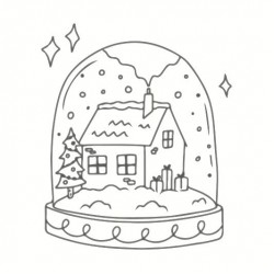Wooden stamp May & Berry 45mm x 45mm - Snow globe