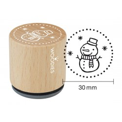 Wooden stamp Woodies 30mm - Snowman