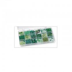 Boîte perles 200g 18 comp.vert