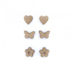 Wooden deco stickers hemp 6pcs ±3cm