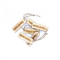 Wooden tags 'handmade' 6pcs 8x2,5cm
