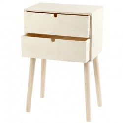 Side table with 2 drawers triplex (1 pc)