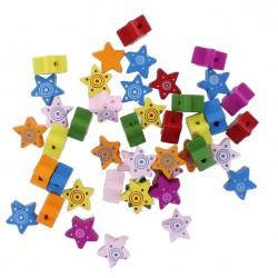 Wood Beads Star ⌀2mm 1,7cm x 0,6mm (100 pcs)
