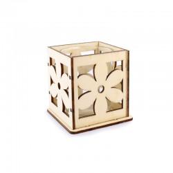 Wood tea-light holder laser cut flower 6x6cm h.7cm