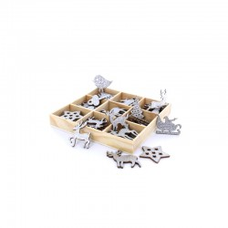 Box with wooden reindeers, stars, tree ± 3cm (54 pcs)