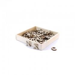 Box with wooden mini alphabet 1,2cm (72 pcs)