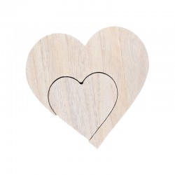 Wooden heart small & big 12cm x 2,5cm x 12cm