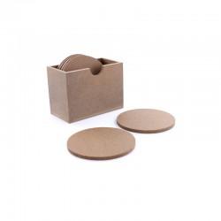 Round coasters in box 94mm x 50mm x 70mm (6 pcs)
