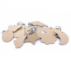 Assort. shaped keyrings 5-6cm (10 pcs)