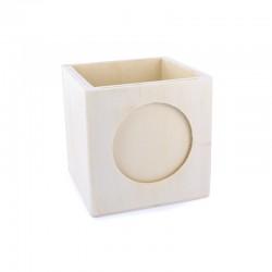 Cube pencil holder with frame 9,5cm x 9,5cm x 9,5cm