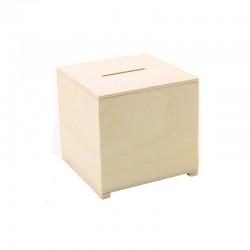 Wood cube money bank 8cm x 8cm x 8cm