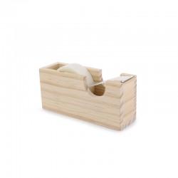 Tape dispenser pinewood - 13cm x 4cm x 6cm