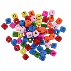 Wood beads alphabet ⌀2mm 1cm x 0,9cm (500 pcs)