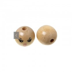 Wooden faces beads varnished 2,2cm (30 pcs)