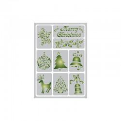 Flexible adhesive stencil 15cm x 21cm Christmas