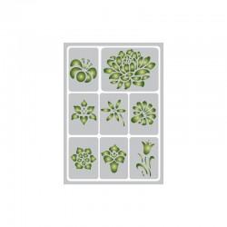 Flexible adhesive stencil 15cm x 21cm Flower petals