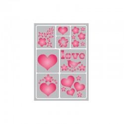 Flexible adhesive stencil 15cm x 21cm Love