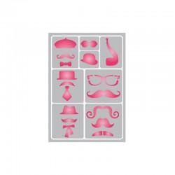 Flexible adhesive stencil 15cm x 21cm Moustache