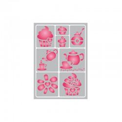 Flexible adhesive stencil 15cm x 21cm Tea time