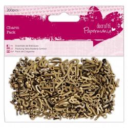 Charm Pack (200pcs) - Papermania - Alphabet Charms Metal